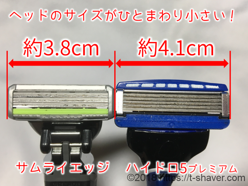 フェザーサムライエッジのヘッドサイズ比較